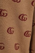 GUCCI Sweaters Double G Jacquard Wool V-Neck Sweater 4
