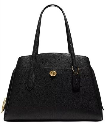Coach Lora Street Style A4 Plain Leather Office Style Elegant Style