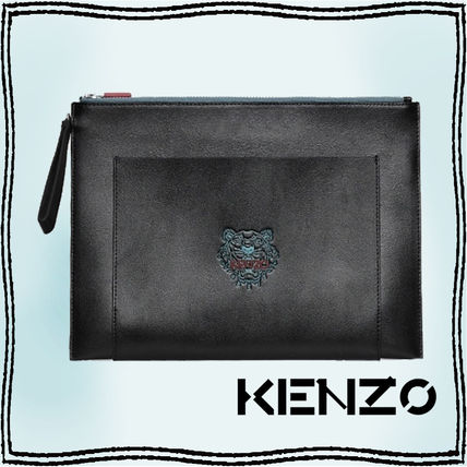 KENZO Unisex Street Style Plain Other Animal Patterns Leather Logo