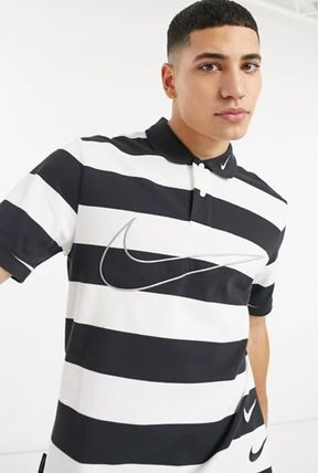 Nike Polos Pullovers Stripes Street Style Bi-color Cotton Short Sleeves 2