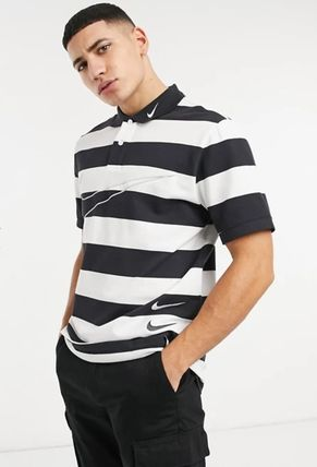 Nike Polos Pullovers Stripes Street Style Bi-color Cotton Short Sleeves 3