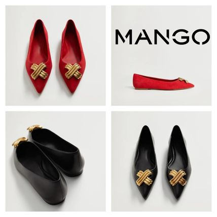 MANGO Rubber Sole Casual Style Elegant Style Pointed Toe Shoes