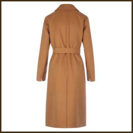 MaxMara Wool Plain Long Office Style Elegant Style Wrap Coats