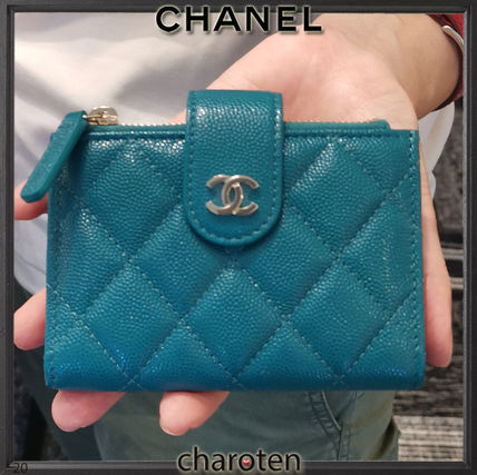 CHANEL TIMELESS CLASSICS Unisex Calfskin Plain Leather Folding Wallet Long Wallet