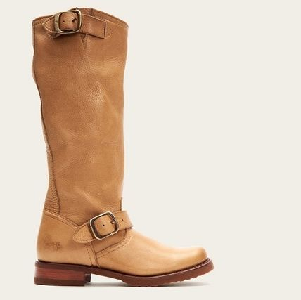 Round Toe Casual Style Plain Leather Mid Heel Boots