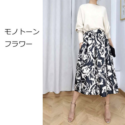Flared Skirts Flower Patterns Paisley Monogram Casual Style