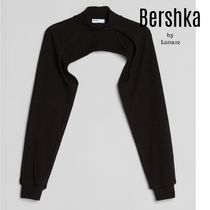 Bershka Short Casual Style Plain High-Neck Puff Sleeves Cropped