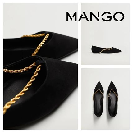 MANGO Rubber Sole Casual Style Leather Elegant Style