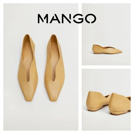 MANGO Rubber Sole Casual Style Leather Office Style Elegant Style