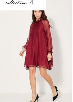 A-line Flared Long Sleeves Plain Medium Dresses