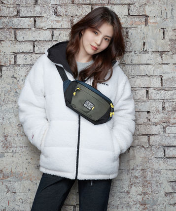 Unisex Street Style Plain Oversized Logo Fleece Jackets
