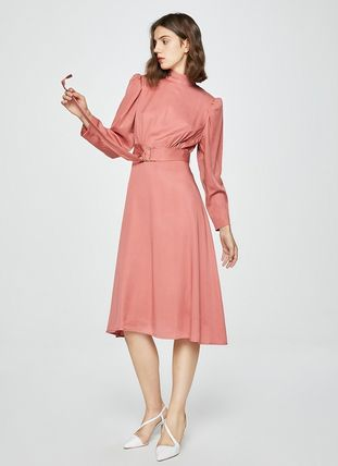 Flared Long Sleeves Plain Long Party Style High-Neck