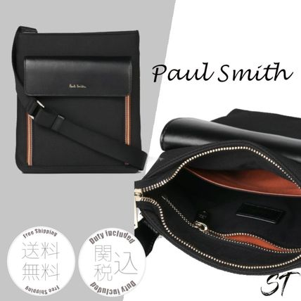 Paul Smith Stripes Unisex Nylon Street Style Plain Leather