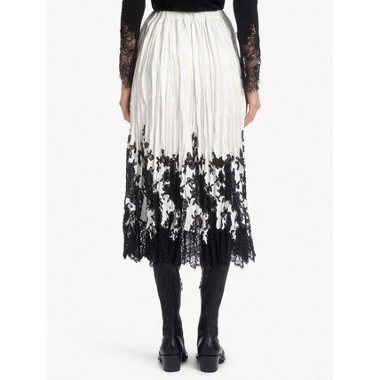 Flower Patterns Casual Style Blended Fabrics Pleated Skirts