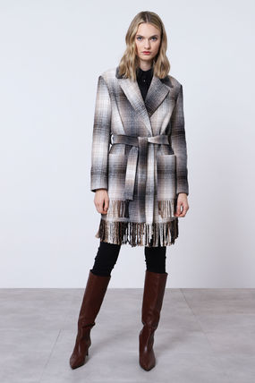 Other Plaid Patterns Casual Style Medium Long Party Style