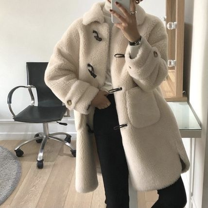 Casual Style Plain Medium Shearling Front Button