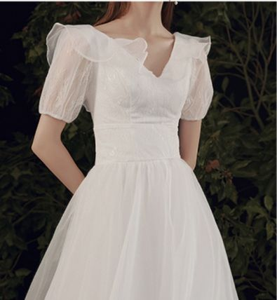 A-line Flared V-Neck Long Short Sleeves Lace Bridal