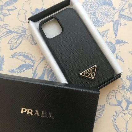 PRADA SAFFIANO LUX Plain Logo Smart Phone Cases
