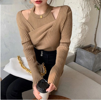 Cable Knit Short Casual Style Peplum Tassel V-Neck
