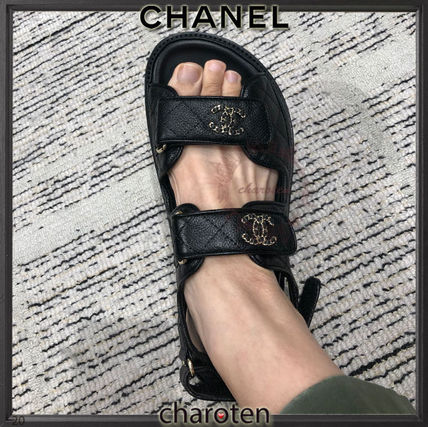 CHANEL ICON Open Toe Platform Casual Style Street Style Chain Plain