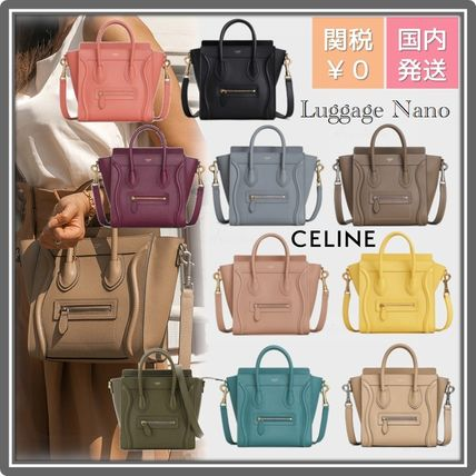 CELINE Luggage Casual Style Leather Party Style Office Style Elegant Style
