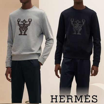 HERMES Sweatshirts Crew Neck Pullovers Blended Fabrics Street Style