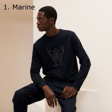 HERMES Sweatshirts Crew Neck Pullovers Blended Fabrics Street Style 3