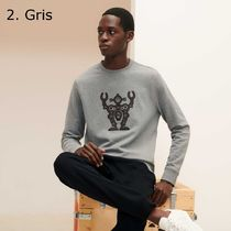 HERMES Sweatshirts Crew Neck Pullovers Blended Fabrics Street Style 7