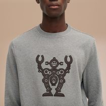 HERMES Sweatshirts Crew Neck Pullovers Blended Fabrics Street Style 9