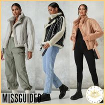 Missguided Short Casual Style Faux Fur Street Style Plain Jackets