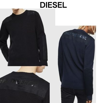 DIESEL Sweaters Crew Neck Pullovers Long Sleeves Plain Cotton Logo Sweaters