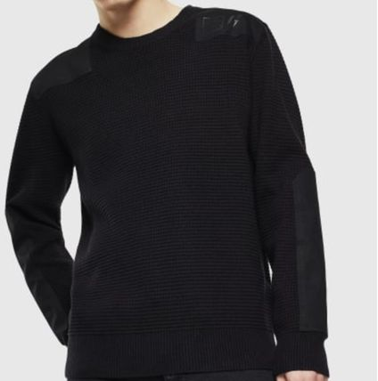 DIESEL Sweaters Crew Neck Pullovers Long Sleeves Plain Cotton Logo Sweaters 2