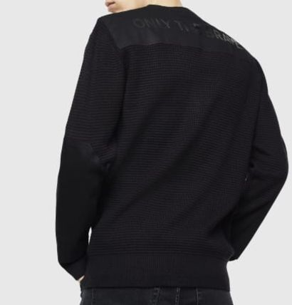 DIESEL Sweaters Crew Neck Pullovers Long Sleeves Plain Cotton Logo Sweaters 3