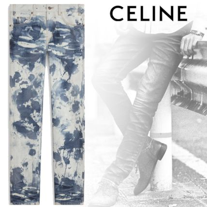 CELINE More Jeans Printed Pants Camouflage Denim Street Style Asymmetry Jeans