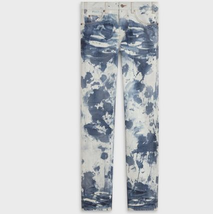 CELINE More Jeans Printed Pants Camouflage Denim Street Style Asymmetry Jeans 2