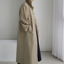 Casual Style Plain Long Oversized Front Button Trench Coats