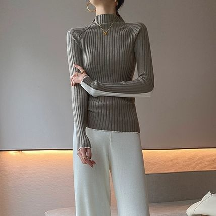 Cable Knit Short Casual Style Wool Long Sleeves Plain Medium
