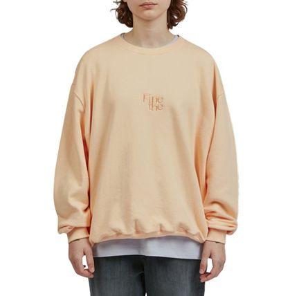 Fine The Sweatshirts Unisex Street Style U-Neck Long Sleeves Cotton Oversized 3