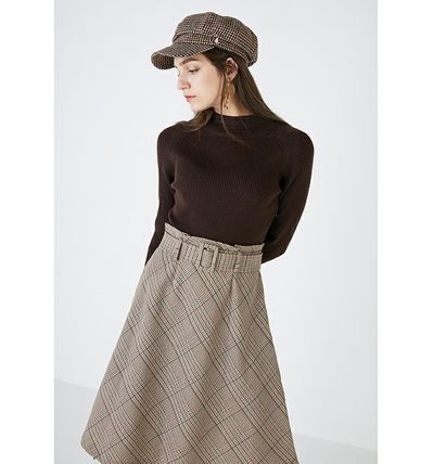 Other Plaid Patterns Casual Style Blended Fabrics Flared