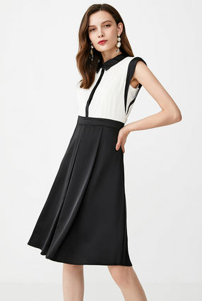 Crew Neck Casual Style Sleeveless Flared Bi-color Long