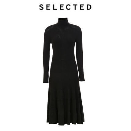 Casual Style Tight Long Sleeves Plain Long High-Neck