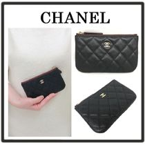 CHANEL MATELASSE Calfskin Leather Logo Pouches & Cosmetic Bags