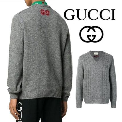 GUCCI Cable Knit Pullovers Unisex Wool Cashmere Fine Gauge