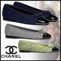 CHANEL Platform Plain Toe Rubber Sole Casual Style Tweed