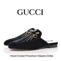 GUCCI Princetown Plain Toe Round Toe Casual Style Plain Leather Party Style