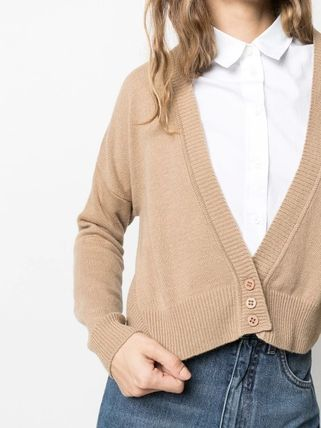 Short Casual Style Wool Long Sleeves Plain Cropped