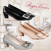 Roger Vivier Plain Leather Party Style Office Style Elegant Style