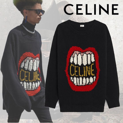 CELINE Sweaters Crew Neck Pullovers Monogram Wool Cashmere Street Style