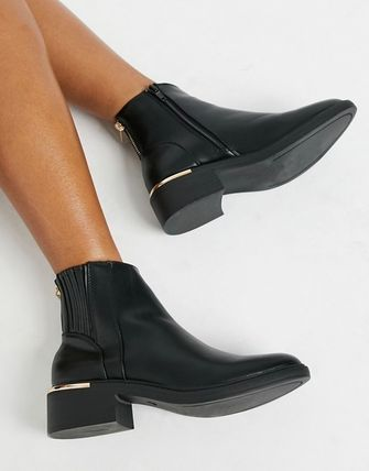 Round Toe Plain Ankle & Booties Boots
