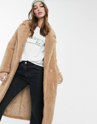Casual Style Street Style Plain Long Office Style Shearling